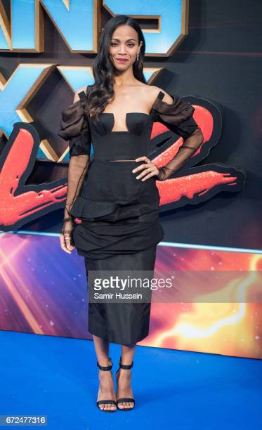 Zoe Saldana attends the European Gala Screening of 'Guardians of the Galaxy Vol 2' at Eventim Apollo on April 24 2017 in London United Kingdom