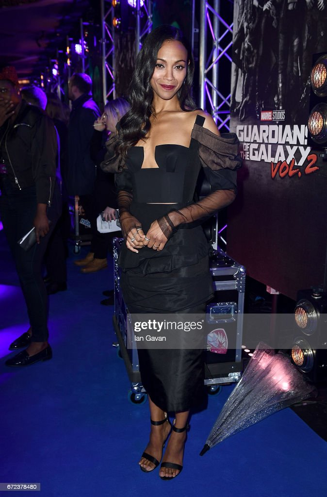 Zoe Saldana attends the European launch event of Marvel Studios' 'Guardians of the Galaxy Vol. 2.' at the Eventim Apollo on April 24, 2017 in London, England.