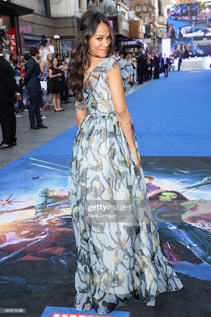 Zoe Saldana attends the European premiere of 'Guardians Of The Galaxy' at The Empire Leicester Square on July 24, 2014 in London, England.