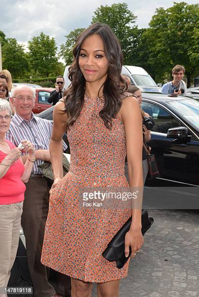 Zoe Saldana attends the Giorgio Armani Prive: Arrivals - Paris Fashion Week Haute Couture F/W 2013 at the Palais de Chaillot on July 3, 2012 in...