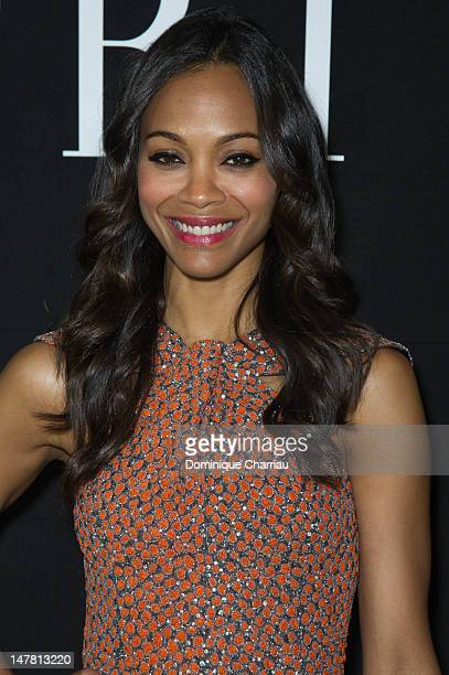 Zoe Saldana attends the Giorgio Armani Prive Haute-Couture Show as part of Paris Fashion Week Fall / Winter 2013 at Palais de Chaillot on July 3,...