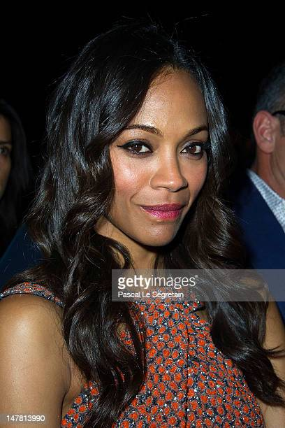 Zoe Saldana attends the Giorgio Armani Prive Haute-Couture show as part of Paris Fashion Week Fall / Winter 2012/13 at Palais de Chaillot on July 3,...