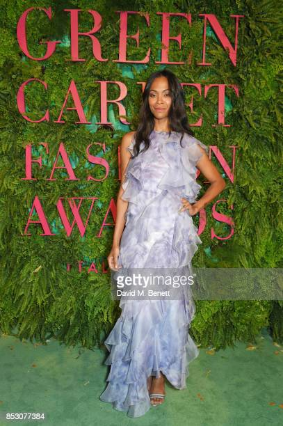 Zoe Saldana attends the Green Carpet Fashion Awards Italia wearing Giorgio Armani for the Green Carpet Challenge at Teatro Alla Scala on September 24...