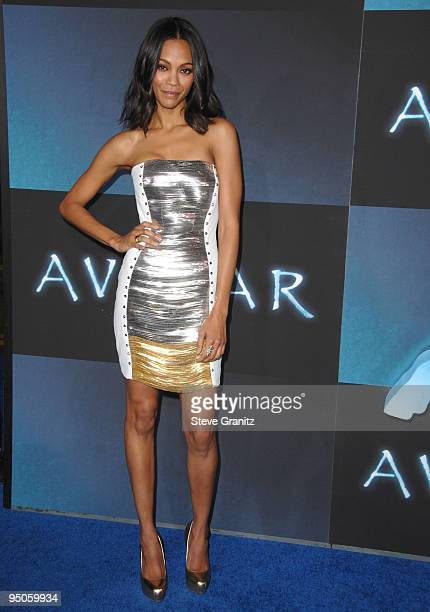 Zoe Saldana attends the Los Angeles premiere of 'Avatar' at Grauman's Chinese Theatre on December 16 2009 in Hollywood California