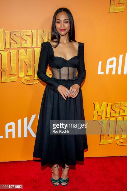 """Zoe Saldana attends the """"Missing Link"""" New York Premiere at Regal Cinema Battery Park on April 07, 2019 in New York City."""