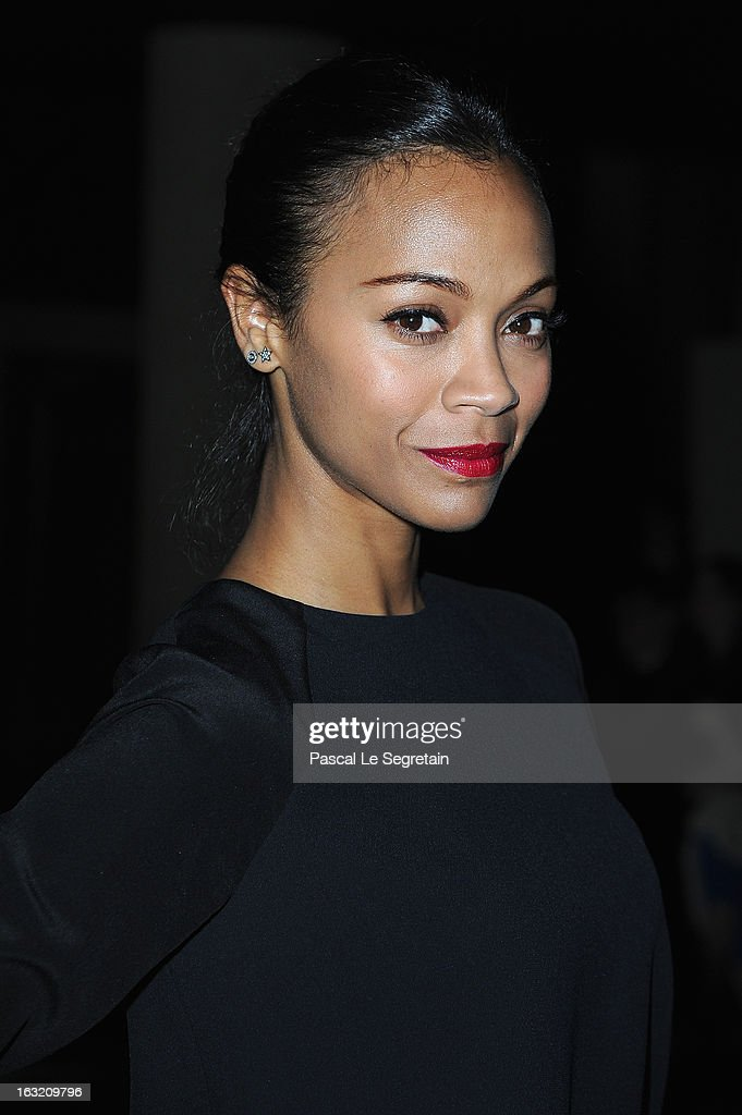 Zoe Saldana attends the Miu Miu Fall/Winter 2013 Ready-to-Wear show as part of Paris Fashion Week on March 6, 2013 in Paris, France.