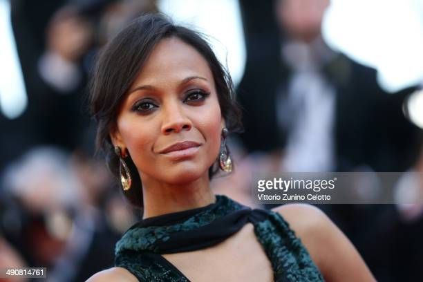 Zoe Saldana attends the 'Mr Turner' premiere during the 67th Annual Cannes Film Festival on May 15 2014 in Cannes France