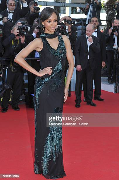 Zoe Saldana attends the 'Mr Turner' premiere during the 67th Cannes Film Festival