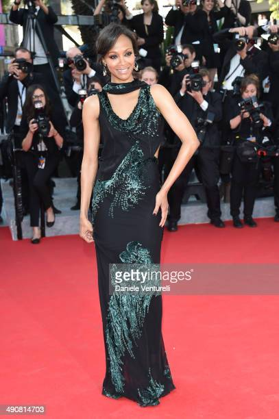 Zoe Saldana attends the 'MrTurner' Premiere at the 67th Annual Cannes Film Festival on May 15 2014 in Cannes France