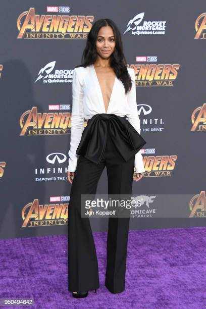 Zoe Saldana attends the premiere of Disney and Marvel's 'Avengers Infinity War' on April 23 2018 in Los Angeles California