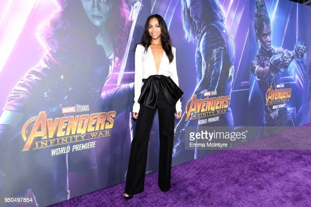 Zoe Saldana attends the premiere of Disney and Marvel's 'Avengers: Infinity War' on April 23, 2018 in Los Angeles, California.