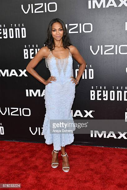 Zoe Saldana attends the premiere of paramount pictures' 'Star Trek Beyond' at Embarcadero Marina Park South on July 20 2016 in San Diego California