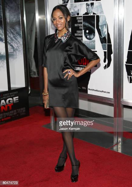 """Zoe Saldana attends the premiere of """"Vantage Point"""" at the AMC Lincoln Square Cinema on February 20, 2008 in New York City."""