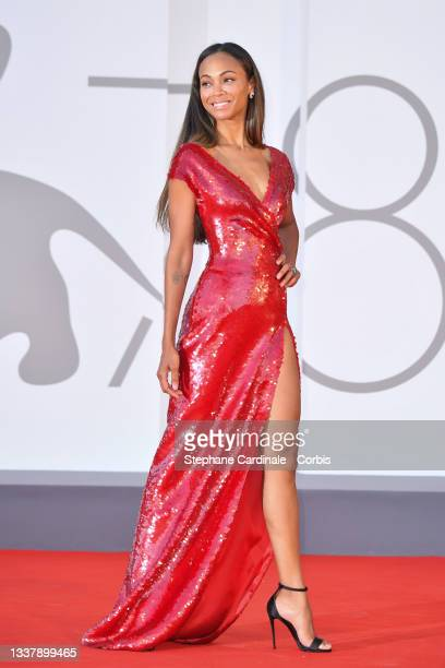 """Zoe Saldana attends the red carpet of the movie """"The Hand Of God"""" during the 78th Venice International Film Festival on September 02, 2021 in Venice,..."""