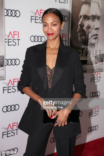 Zoe Saldana attends the screening of 'Hostiles' at AFI FEST 2017 Presented By Audi at TCL Chinese Theatre on November 14 2017 in Hollywood California