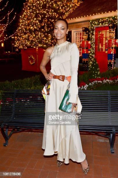 Zoe Saldana attends the Tamara Mellon Palisades Village Opening Party at Blue Ribbon Sushi on December 11, 2018 in Pacific Palisades, California.