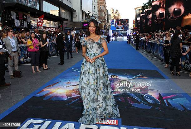 """Zoe Saldana attends the UK Premiere of """"Guardians of the Galaxy"""" at Empire Leicester Square on July 24, 2014 in London, England."""