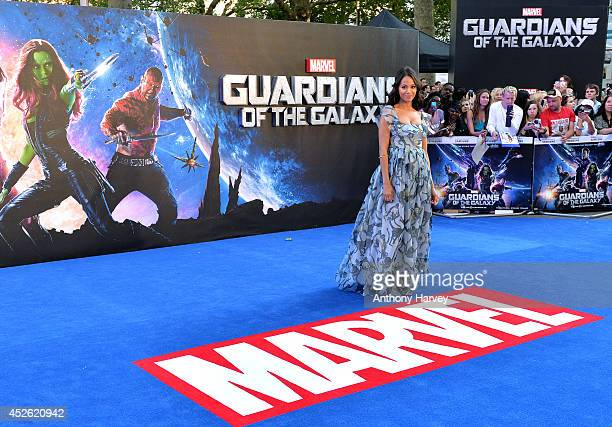 Zoe Saldana attends the UK Premiere of 'Guardians of the Galaxy' at Empire Leicester Square on July 24 2014 in London England