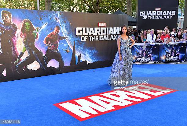 Zoe Saldana attends the UK Premiere of Guardians of the Galaxy at Empire Leicester Square on July 24 2014 in London England
