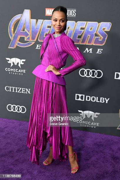 Zoe Saldana attends the world premiere of Walt Disney Studios Motion Pictures Avengers Endgame at the Los Angeles Convention Center on April 22 2019...