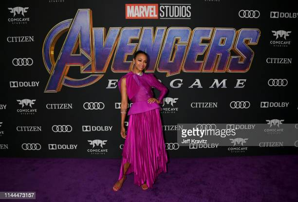 "Zoe Saldana attends the World Premiere of Walt Disney Studios Motion Pictures ""Avengers: Endgame"" at Los Angeles Convention Center on April 22, 2019..."