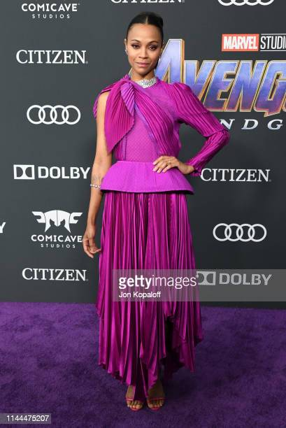 Zoe Saldana attends the World Premiere Of Walt Disney Studios Motion Pictures Avengers Endgame at Los Angeles Convention Center on April 22 2019 in...