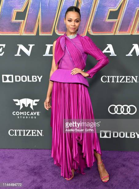 Zoe Saldana attends the World Premiere of Walt Disney Studios Motion Pictures 'Avengers: Endgame' at Los Angeles Convention Center on April 22, 2019...