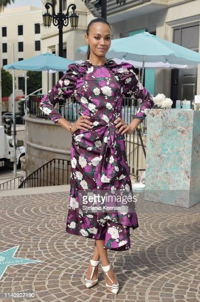 Zoe Saldana attends Tiffany & Co. Celebrates Pop-Up of The Tiffany Cafe at Beverly Hills at Tiffany & Co. On May 3, 2019 in Beverly Hills, California.