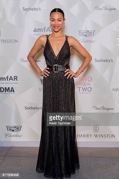 Zoe Saldana attends TWO x TWO For AIDS and Art 2016 on October 22 2016 in Dallas Texas