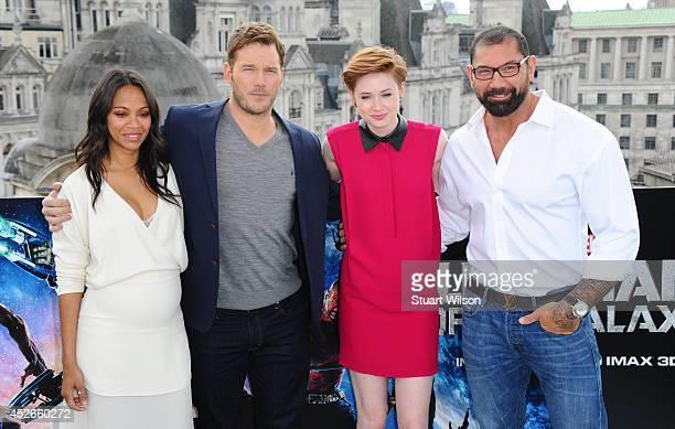 Zoe Saldana Chris Pratt Karen Gillan and David Bautista attends the 'Guardians of the Galacy' photocall on July 25 2014 in London England
