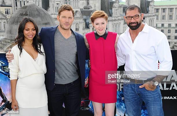 "Zoe Saldana, Chris Pratt, Karen Gillan and David Bautista attends the ""Guardians of the Galaxy"" photocall on July 25, 2014 in London, England."