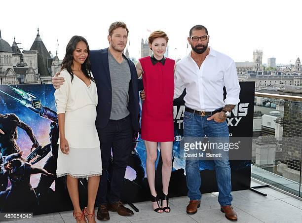 Zoe Saldana Chris Pratt Karen Gillan and David Bautista pose at the Guardians of the Galaxy photocall at The Corinthia Hotel on July 25 2014 in...