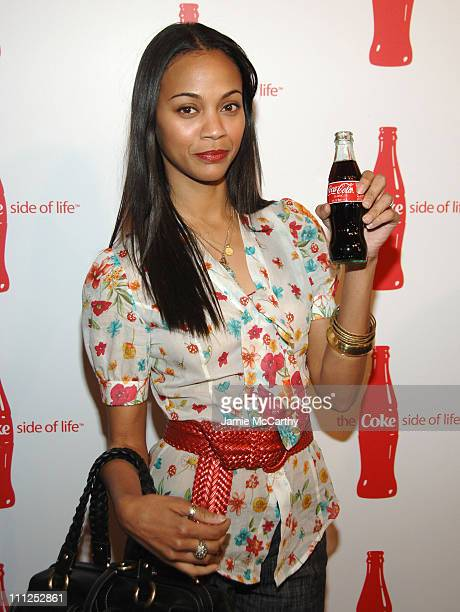 Zoe Saldana during Coca Cola's Coke Side Of Life Launch Party at Capitale in New York City at Capitale in New York City New York United States
