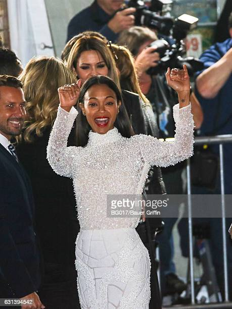 Zoe Saldana is seen arriving for the Premiere Of Warner Bros Pictures' 'Live By Night' at TCL Chinese Theatre on January 09 2017 in Los Angeles...