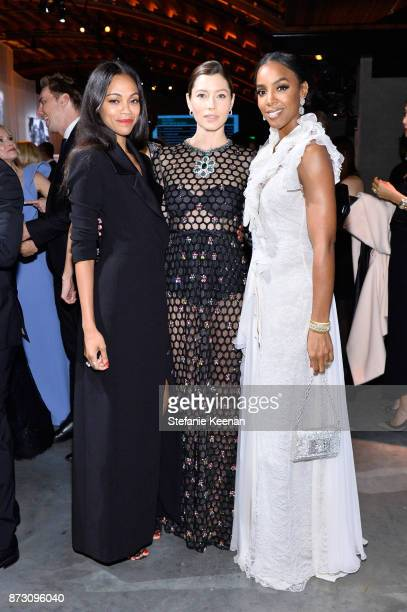 Zoe Saldana Jessica Biel and Kelly Rowland attend The 2017 Baby2Baby Gala presented by Paul Mitchell on November 11 2017 in Los Angeles California
