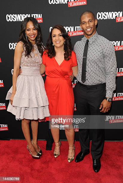 Zoe Saldana, Michelle Herrera Mulligan and Victor Cruz attend the Cosmopolitan For Latina's Premiere Issue Party at Press Lounge at Ink48 on May 9,...