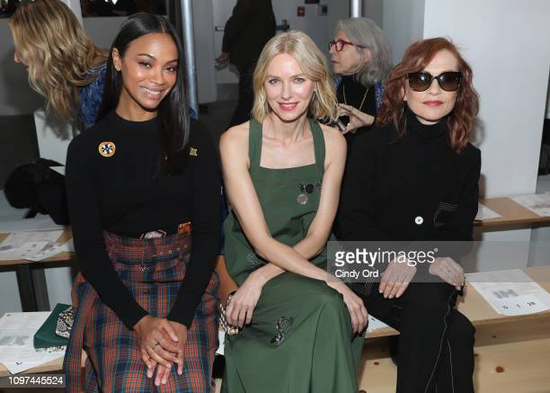 Zoe Saldana Naomi Watts and Isabelle Huppert attend the Tory Burch Fall Winter 2019 Fashion Show at Pier 17 on February 10 2019 in New York City