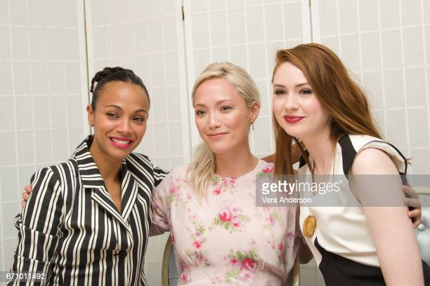 Zoe Saldana Pom Klementieff and Karen Gillan at the 'Guardians of the Galaxy Vol 2' Press Conference at the London Hotel on April 20 2017 in West...