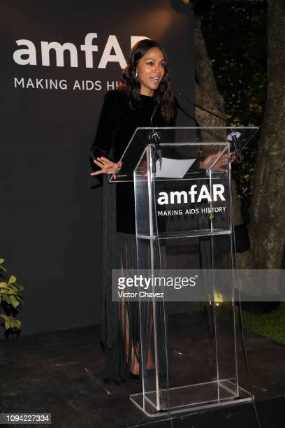 Zoe Saldana speaks during the amfAR gala dinner at the house of collector and museum patron Eugenio López on February 5 2019 in Mexico City Mexico