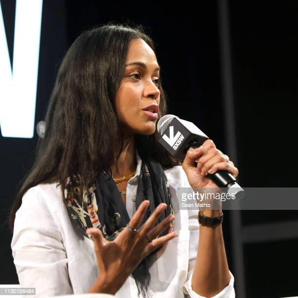 Zoe Saldana speaks onstage at Featured Session: Changing the Narrative with Zoe Saldana during the 2019 SXSW Conference and Festivals at Austin...