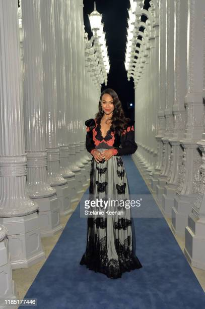 Zoe Saldana wearing Gucci attends the 2019 LACMA Art Film Gala Presented By Gucci at LACMA on November 02 2019 in Los Angeles California