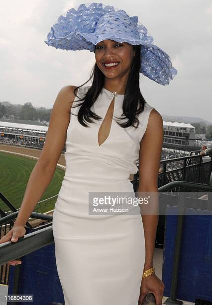 Zoe Saldana who acted in 'Pirates of the Caribbean' visits Churchill Downs for the 133rd running of the Kentucky Derby