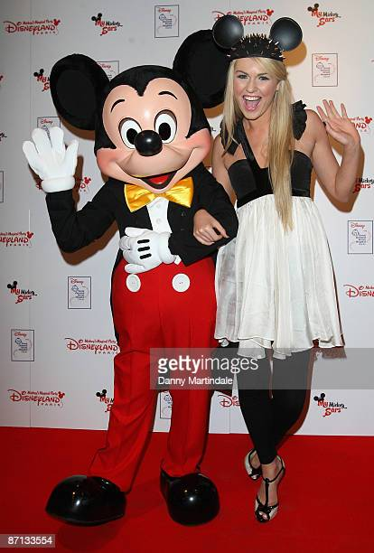 Zoe Salmon and Mickey Mouse attends the unveiling of the 'Disneyland Resort Paris Celebrity Designed Mickey Ears' at START Boutique on May 12 2009 in...