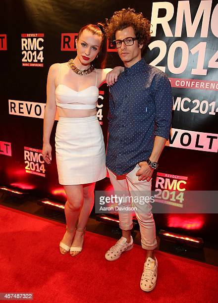 ASTR Zoe Silverman and Adam Pallin attends RMC Gala Dinner at Revolt Music Conference at Fontainebleau Miami Beach on October 18 2014 in Miami Beach...