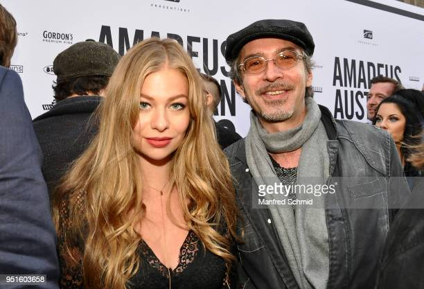 Zoe Straub and Christof Straub pose at the red carpet during the Amadeus Award 2018 on April 26 2018 in Vienna Austria