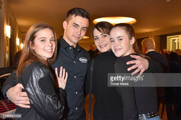 """Zoe, Tano Kling, Anja Kling and Alea Kling attend the """"Ab jetzt"""" theater premiere on January 26, 2020 in Berlin, Germany."""