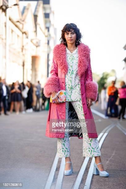 Zoe Tapp wearing Saks Potts jacket, Suzanna Alexander bag, La Manson rings and vintage suit at Afterpay Australian Fashion Week 2021 on June 02, 2021...
