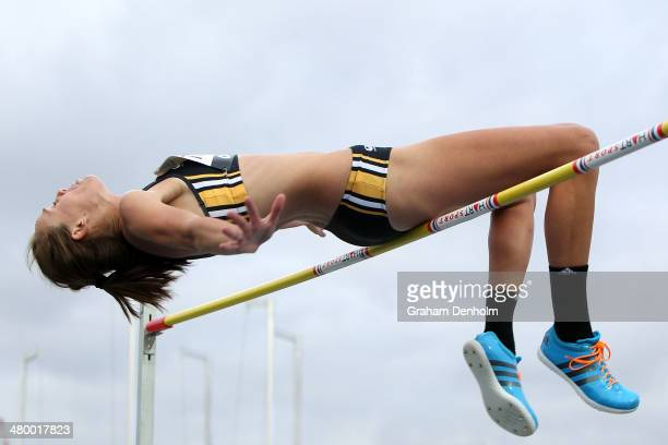 Zoe Timmers of Australia competes in the Women's high jump open during the IAAF Melbourne World Challenge at Olympic Park on March 22 2014 in...