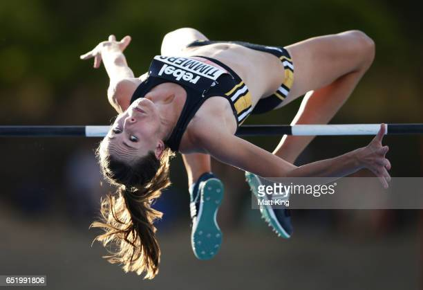 Zoe Timmers of WA competes in the Women's High Jump during the SUMMERofATHS Grand Prix on March 11 2017 in Canberra Australia