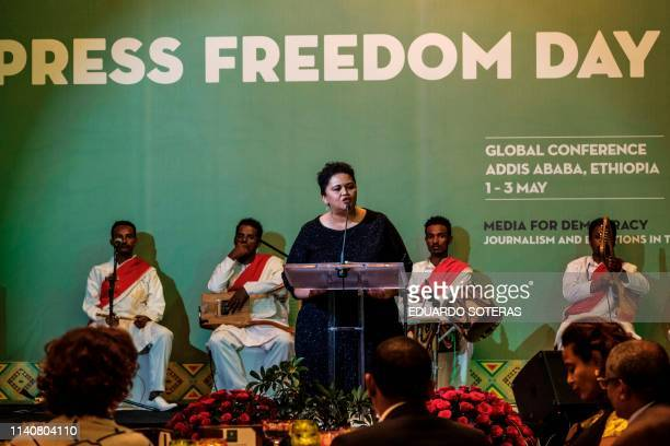 Zoe Titus member of the Namibia Media Trust speaks during the Guillermo Cano World Press Freedom Prize ceremony in Addis Ababa on May 2 2019 The...